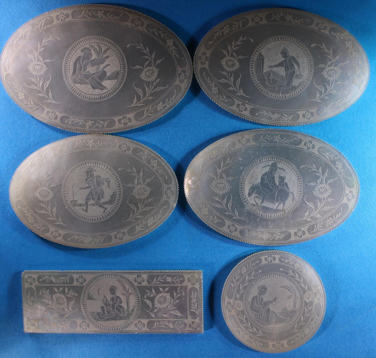 Rare set ofsix large, numbered counters with super character scenes