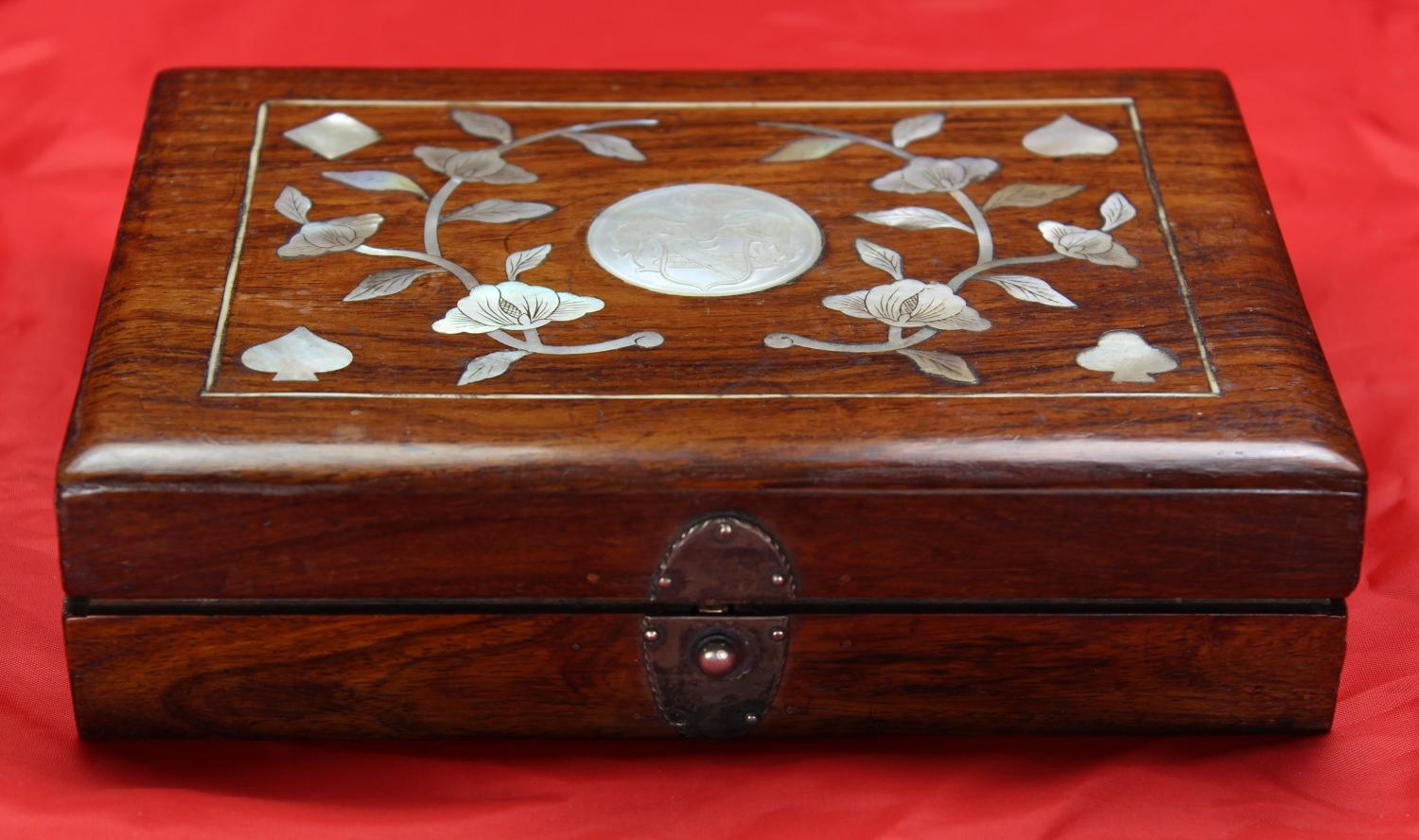 Wood and m-o-p armorial box and counters for STEWART