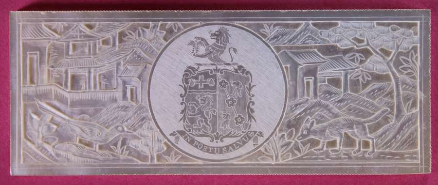 Superb large armorial deep-carved