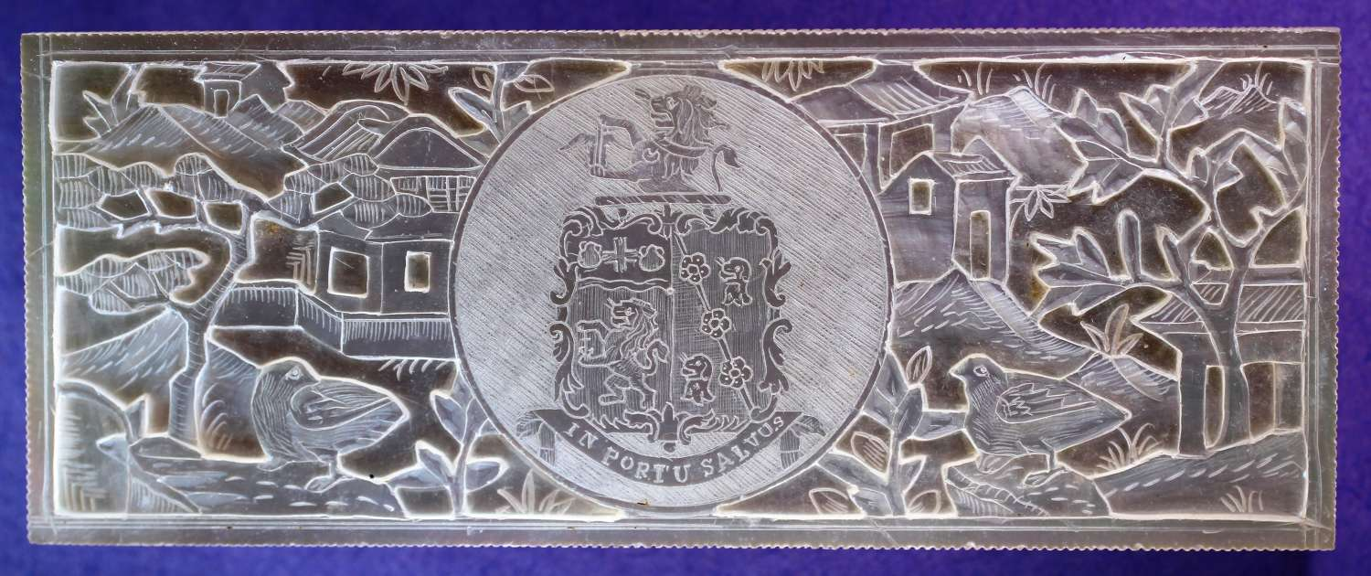 MAGNIFICENT DEEP-CARVED ARMORIAL COUNTER