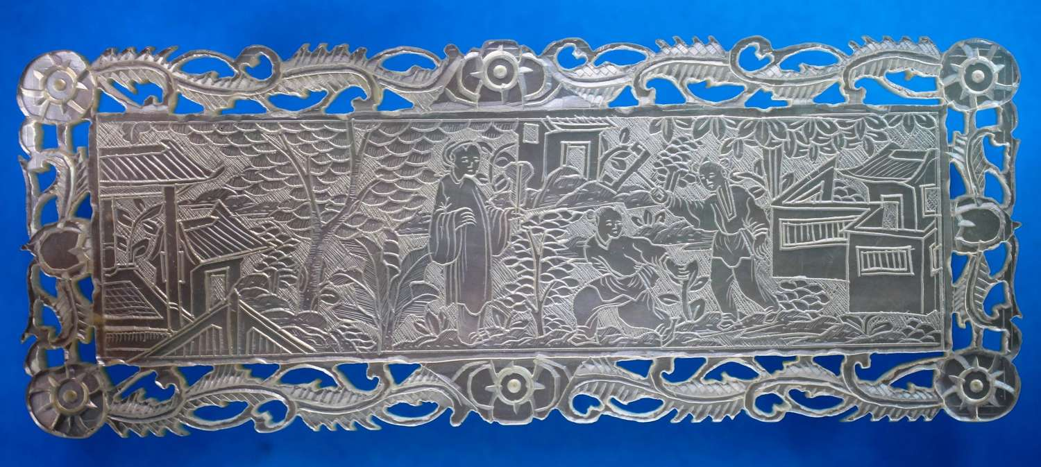 Large fretted counter - great border and artwork